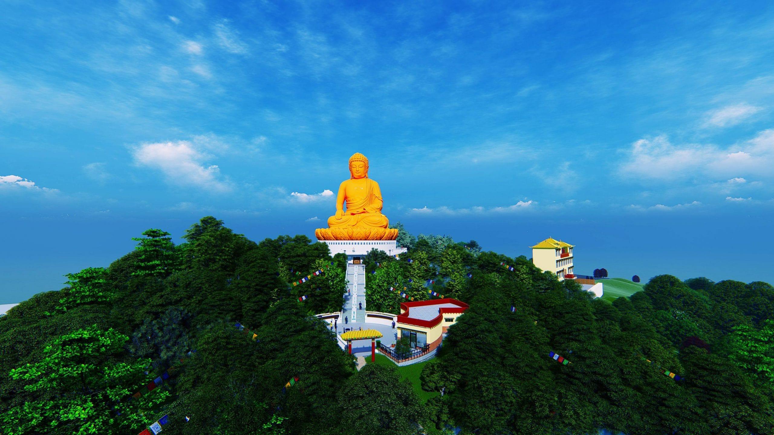 लुम्बिनीबाट देखिने गरि हिलपार्कमा बुद्ध मूर्तिसहितको पार्क बनाइँदै