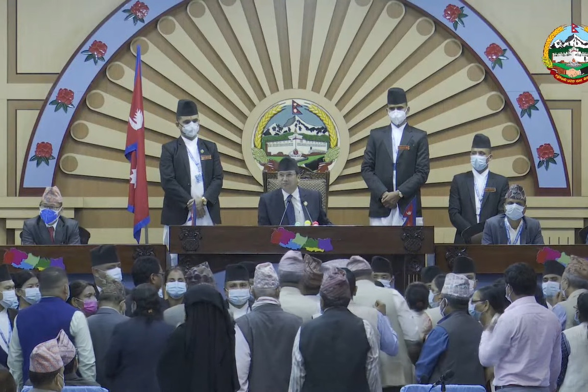 लुम्बिनी प्रदेशसभा बैठकमा एमाले सांसदको नाराबाजी